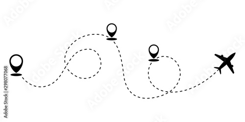 Fotografía  Plane and track icon on a white background. Vector illustration