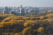 Aerial view of Minsk city. Autumn Victory Park and Svisloch River. Belarus