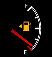 Fuel Gauge Nearly Empty With Red Indicator. Isolated Easy To Edit Vector On Black Background.