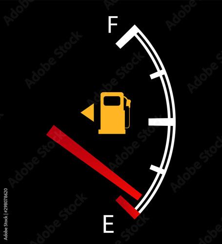 Obraz na plátně  Fuel gauge nearly empty with red indicator