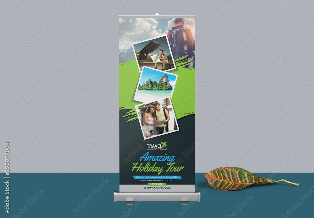 Fototapety, obrazy: Roll Up Banner Layout with Rectangular Elements