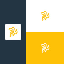 Bee Line Logo Vector Icon Illustration Design Vector.premium Vector