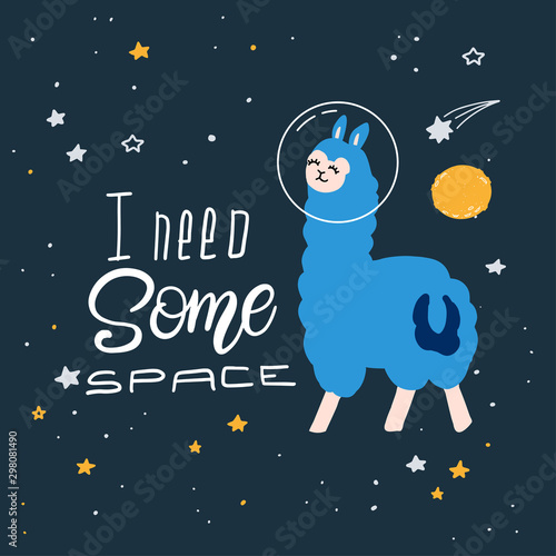 Fotografie, Obraz Cute cartoon print with llama in space