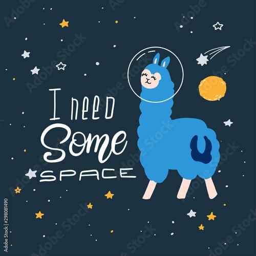 Cute cartoon print with llama in space Canvas Print
