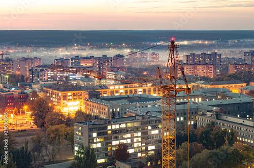 Fototapeta Aerial view of the beautiful burning city lights obraz na płótnie