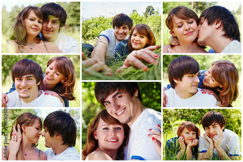 Collage of happy young couple. Man and woman hugging, kissing, lying together on grass. Husband and wife resting outdoors #298083481