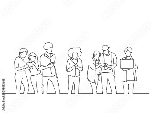 Foto  People using technology isolated line drawing, vector illustration design