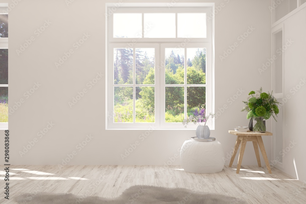 Fototapeta Stylish empty room in white color with summer landscape in window. Scandinavian interior design. 3D illustration