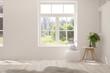 Leinwandbild Motiv Stylish empty room in white color with summer landscape in window. Scandinavian interior design. 3D illustration