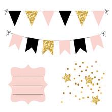 Set Of Golden, Black And Pink ...