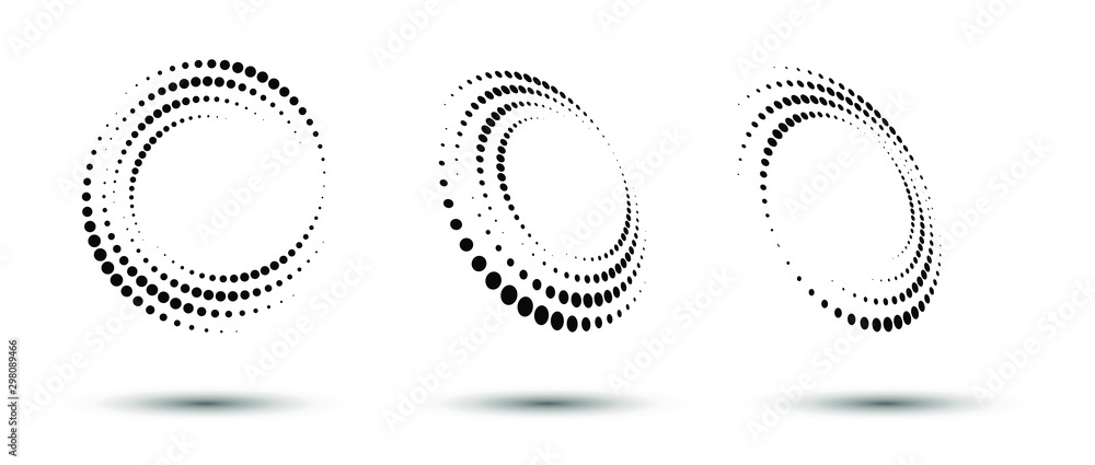 Fototapeta Halftone circle frame, abstract dots logo emblem design element for any project. Round border icon or backgroud. Vector EPS10 illustration. Abstract dotted halftone vector with differents perspective