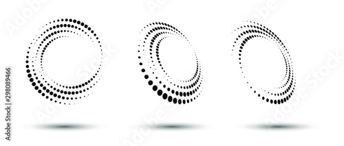 Halftone circle frame, abstract dots logo emblem design element for any project Wallpaper Mural