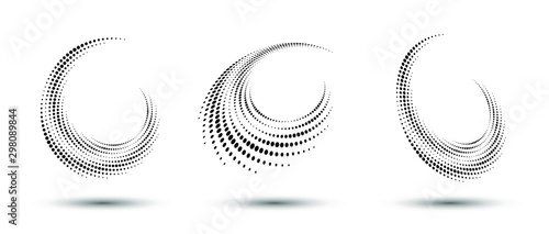 Fototapeta Halftone circle frame, abstract dots logo emblem design element for any project