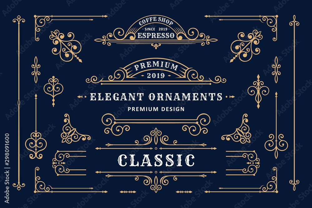 Fototapety, obrazy: Classic ornament frame, Vintage border illustration
