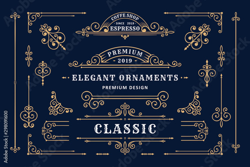Photo Classic ornament frame, Vintage border illustration