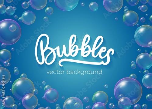 Festive bubbles with rainbow reflection vector illustration Canvas Print