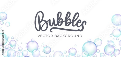 Fotografia, Obraz Festive iridescent foam bubbles with rainbow reflection vector illustration