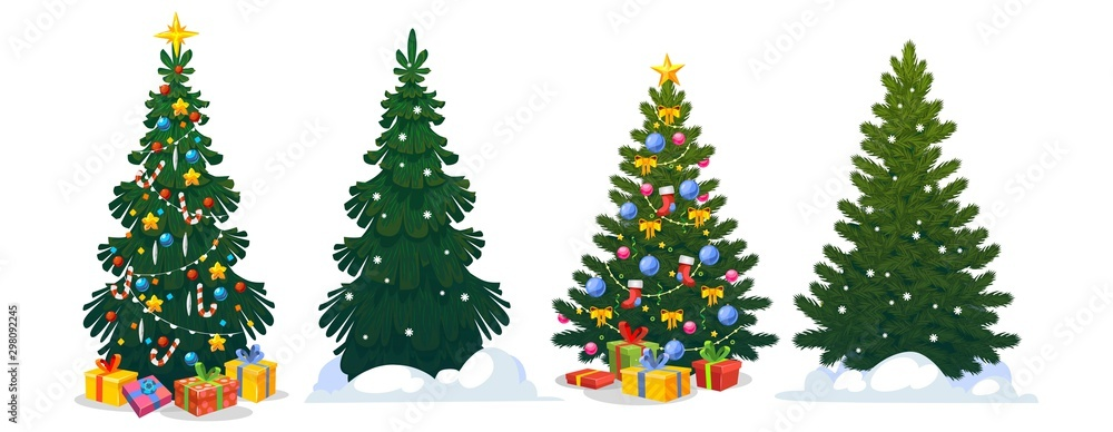 Fototapeta Festive Christmas trees in cartoon style set vector illustration. Decorated green fir-trees and pines with snowy branches and gift boxes, Xmas star, balls, candies and lights. Happy New Year concept