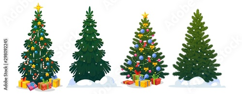 Festive Christmas trees in cartoon style set vector illustration. Decorated green fir-trees and pines with snowy branches and gift boxes, Xmas star, balls, candies and lights. Happy New Year concept