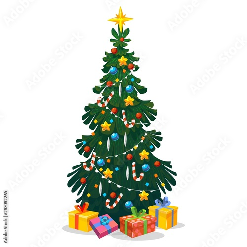 Fototapeta Decorated Christmas tree in cartoon style vector illustration. Festive green fir-tree with New Year balls, Xms star, lights, snowflake and gift boxes. Winter holidays celebration design obraz