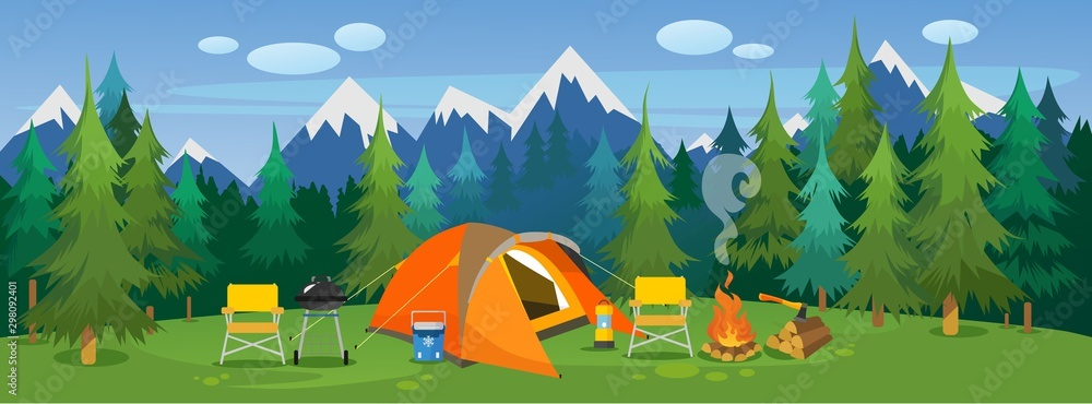 Fototapeta Camping travelling picturesque landscape vector illustration. Template with beautiful view on meadow of tourists camp with tent, campfire, bbq and chairs on mountain and forest background