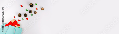 Canvastavla  web banner minimal flat lay decorate for autumn to christmas and new year celebr