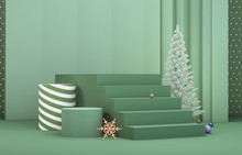 Abstract 3d Composition. Winter Christmas Background With Christmas Tree And Stage For Product Display.