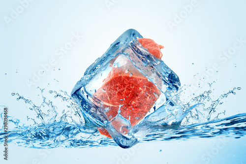 Fototapeta owoce w wodzie   creative-cool-ice-cube-chilled-meat-for-cold-storage