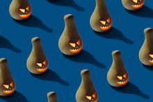 Halloween Pumpkin On Blue Background