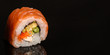 sushi rolls, traditional Japanese food (rice, nori and seafood) menu concept. food background. copy space. Top view