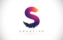 S Feather Letter Logo Icon Des...
