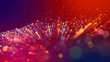 Leinwanddruck Bild - Abstract explosion of multicolored shiny particles or light rays like laser show. 3d render abstract beautiful background with light rays colorful glowing particles, depth of field, bokeh.