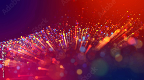 Obraz Abstract explosion of multicolored shiny particles or light rays like laser show. 3d render abstract beautiful background with light rays colorful glowing particles, depth of field, bokeh. - fototapety do salonu