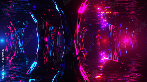 Space alien cave. Virtual reality environment. 3d render. Canvas-taulu