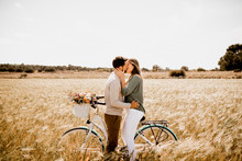 Sincere Lovers Posing By Bicyc...