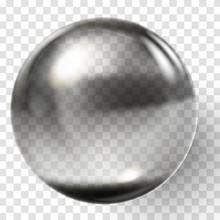 Realistic Black Glass Ball. Transparent Black Sphere