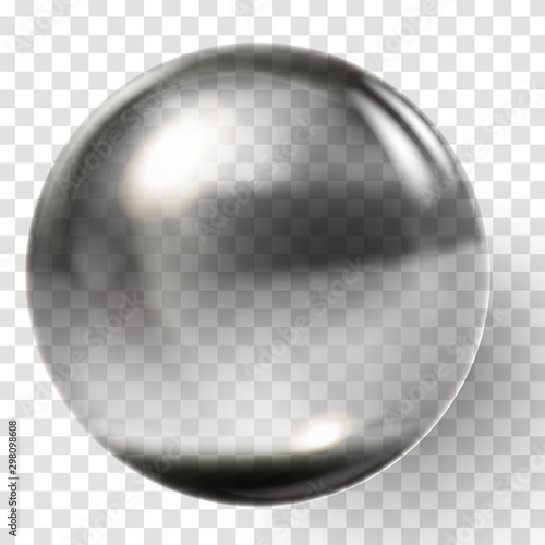 Fotografía Realistic black glass ball. Transparent black sphere