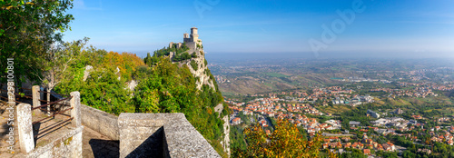 San Marino. Panorama of old stone towers on the top of the mountain.