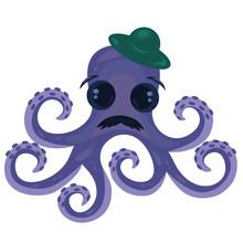 Purple Octopus In A Green Hat ...