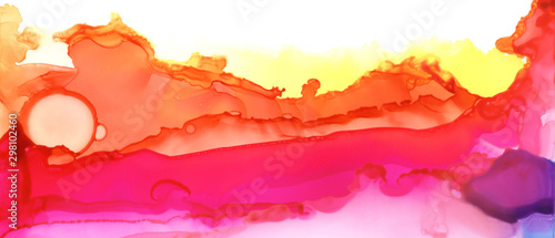 Abstract paint blots background. Alcohol ink colors. Marble texture. Horizontal long banner..