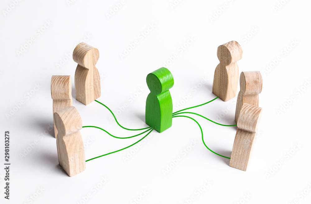 Fototapeta Intermediary between two people groups. Business deal. Political negotiations, diplomacy. Come to compromise. Mediation. Organizer of meetings and reconciliation of sides of the conflict