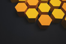 Yellow Paper Hexagons On Dark Blue