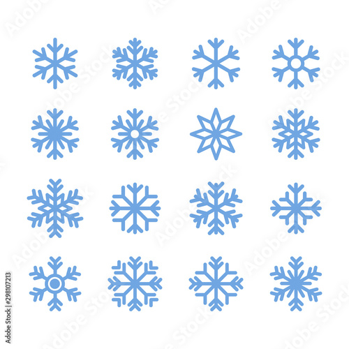 Obraz Simple snowflakes icon set in line style design on white background. For Christmas  decoration and ornaments. - fototapety do salonu