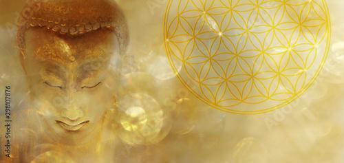 Foto Banner Buddha mit Blume des Lebens in goldenem Licht