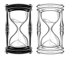 Hand Drawn Line Art Hourglass ...