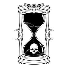 Human Skull In Hourglass Isolated. Sticker, Print Or Blackwork Tattoo Hand Drawn Vector Illustration.