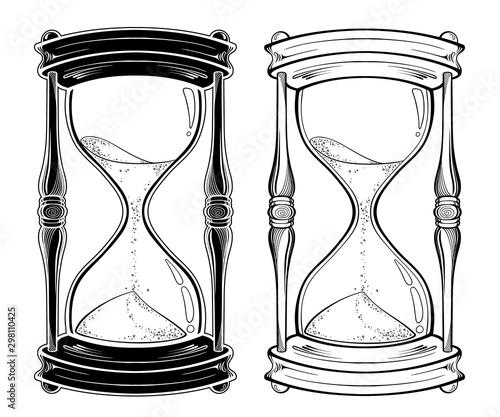 Valokuva Hand drawn line art hourglass set isolated sticker, print or blackwork tattoo design vector illustration