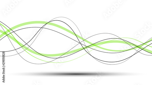 Abstract curved and wave black and green lines on a white background and shadow