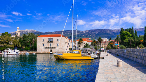 Idyllic coastal villages in Croatia. Scenic Kastella in Dalmatia. Kastel Luksic village with charming marine