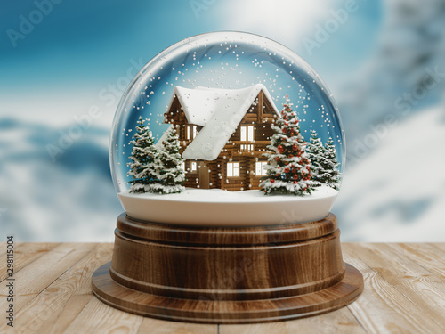Poster Pierre, Sable Beautiful snow ball or snowglobe with snowfall and mountain house inside. 3d rendering